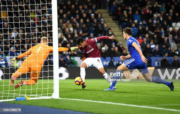 Fabian Balbuena of West Ham United scores his team's first goal during the Premier League match between Leicester City and West Ham United at The...