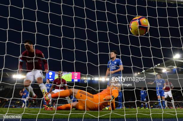 Fabian Balbuena of West Ham United scores to give West Ham a 10 lead during the Premier League match between Leicester City and West Ham United at...