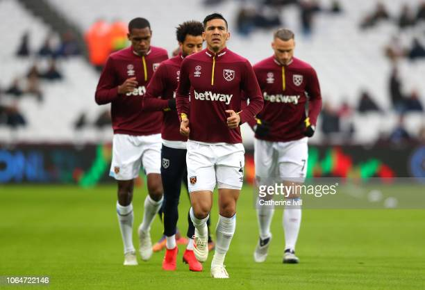 Fabian Balbuena of West Ham United warms up prior to the Premier League match between West Ham United and Manchester City at London Stadium on...
