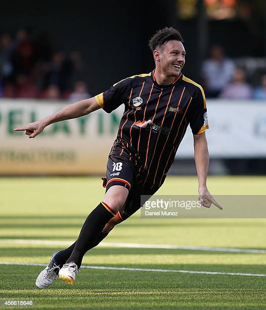 Fabian Barbiero of Metro Stars FC reacts after scoring during the National Premier Leagues Grand Final match between Bonnyrigg White Eagles and Metro...