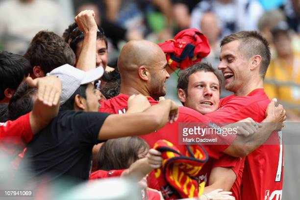 Fabian Barbiero of United celebrates with fans after scoring a goal in the second half during the round 22 A-League match between the Melbourne...