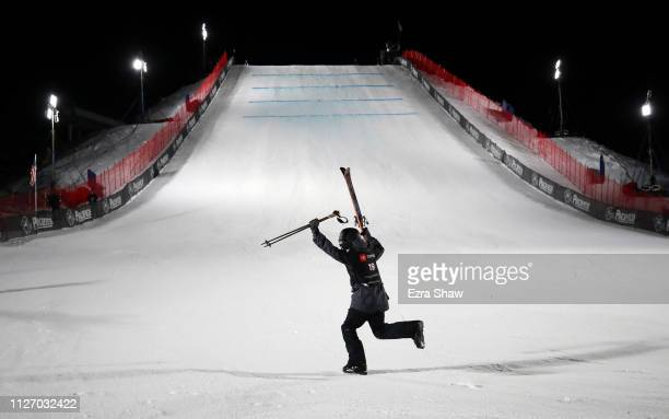 Fabian Boesch of Switzerland celebrates after he won the Men's Ski Big Air Final at the FIS Freeski World Championships on February 02 2019 at...