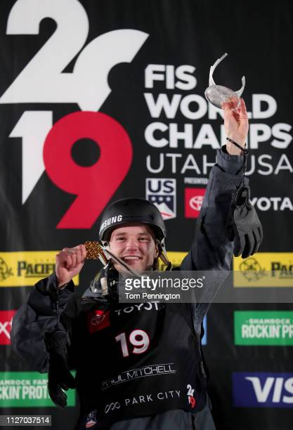 Fabian Boesch of Switzerland in first place celebrates on the podium in the Men's Ski Big Air Final at the FIS Freeski World Championships on...