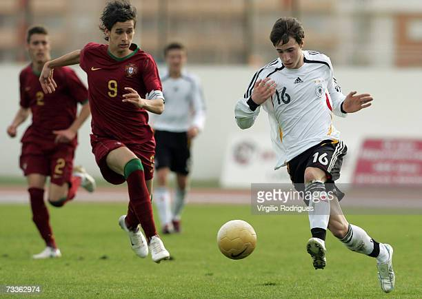 Fabian Broghammer of Germany vies for the ball with Rui Fonte of Portugal during the Men's U17 international Tournament match between Portugal and...