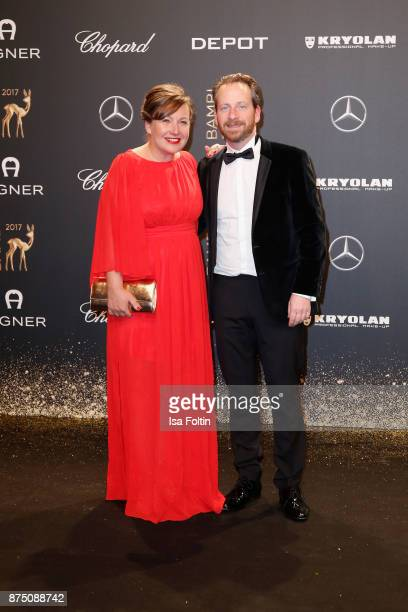 Fabian Busch and guest arrive at the Bambi Awards 2017 at Stage Theater on November 16 2017 in Berlin Germany