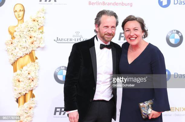 Fabian Busch and his wife Sunny Busch during the Lola - German Film Award red carpet at Messe Berlin on April 27, 2018 in Berlin, Germany.