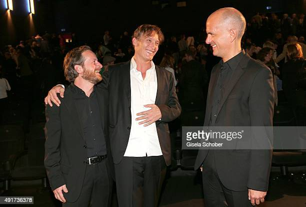 Fabian Busch, Oliver Masucci and Christoph Maria Herbst during the special screening of the film 'Er ist wieder da' at Mathaeser Filmpalast on...