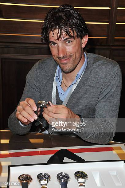 Fabian Cancellara attends the IWC launch of the Portofino watch range at the SIHH International Fine Watch makers exhibition on January 18, 2011 in...