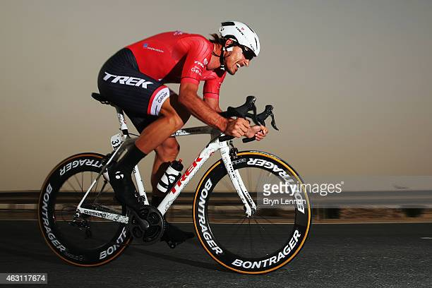 Fabian Cancellara of Switerland and Trek Factory Racing in action on stage three of the 2015 Tour of Qatar, a 10.9km individual time trial at the...
