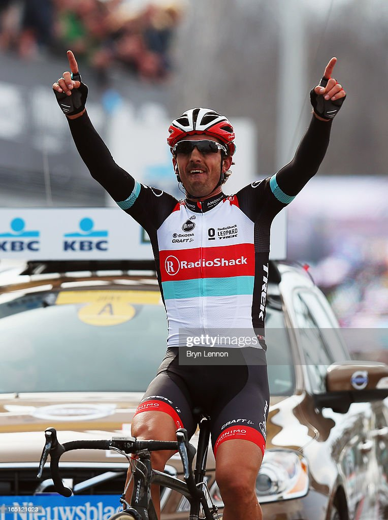 Fabian Cancellara of Switzerland and RadioShack Leopard celebrates winning the 97th Tour of Flanders from Brugge to Oudenaarde on March 31, 2013 in Brugge, Belgium.