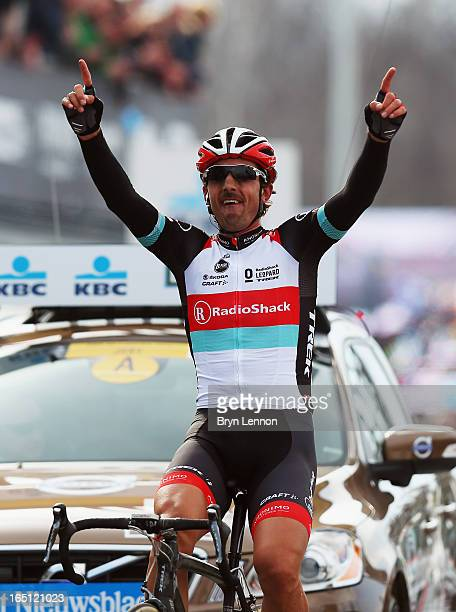 Fabian Cancellara of Switzerland and RadioShack Leopard celebrates winning the 97th Tour of Flanders from Brugge to Oudenaarde on March 31, 2013 in...