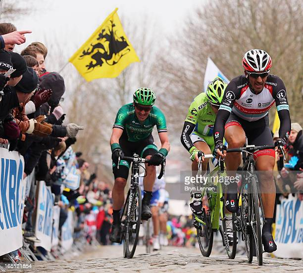 Fabian Cancellara of Switzerland and RadioShack Leopard in action on the Kwaremont winning the 97th Tour of Flanders from Brugge to Oudenaarde on...