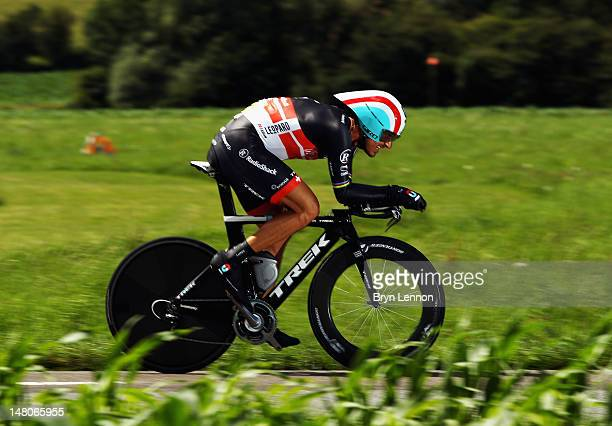 Fabian Cancellara of Switzerland and Radioshack-Nissan in action during stage nine of the 2012 Tour de France, a 41.5km individual time trial, from...