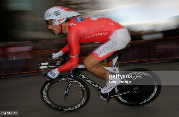 Fabian Cancellara of Switzerland and riding for Team Saxo Bank rides to a first place finish in the Prologue of the AMGEN Tour of California on...