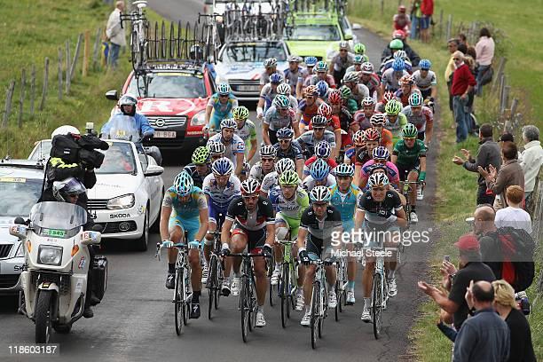 Fabian Cancellara of Switzerland and team Leopard Trek leads the chasing pack towards Col de la Croix Saint-Robert during Stage 8 of the 2011 Tour de...