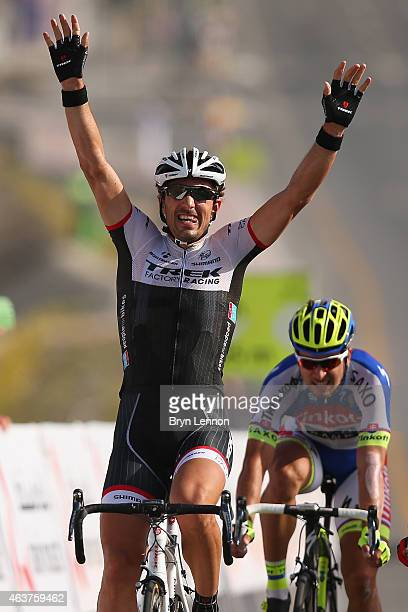 Fabian Cancellara of Switzerland and Trek Factory Racing celebrates as he crosses the finish line to win stage two of the 2015 Tour of Oman, a...