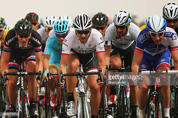 Fabian Cancellara of Switzerland and Trek Factory Racing rides in the front group during stage two of the 2015 Tour of Qatar, a 187km stage from Al...
