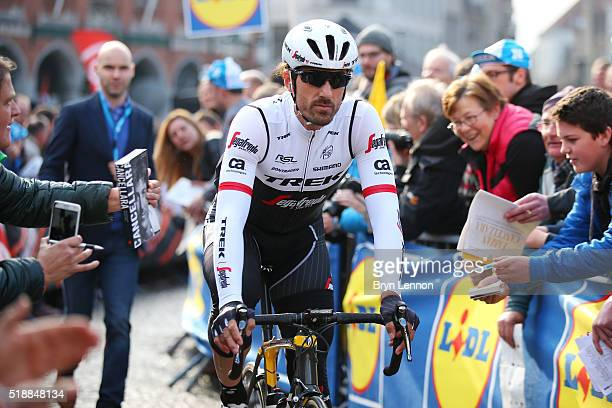Fabian Cancellara of Switzerland and Trek Segafredo makes his way to the start line prior to the 100th edition of the Tour of Flanders from Bruges to...