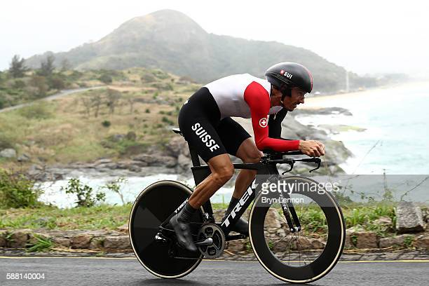 Fabian Cancellara of Switzerland competes in the Cycling Road Men's Individual Time Trial on Day 5 of the Rio 2016 Olympic Games at Pontal on August...
