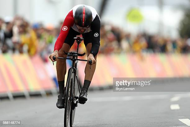 Fabian Cancellara of Switzerland crosses the finish line in the Cycling Road Men's Individual Time Trial on Day 5 of the Rio 2016 Olympic Games at...