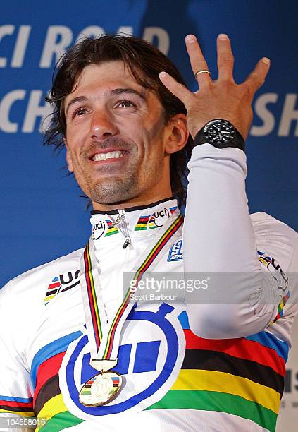Fabian Cancellara of Switzerland gestures during the medal presentation for the Men's Elite Time Trial on day two of the UCI Road World Championships...