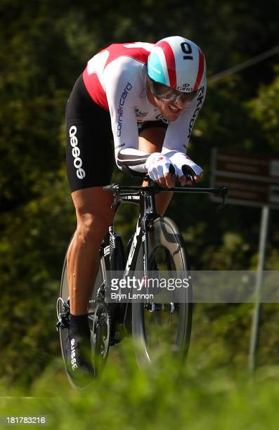Fabian Cancellara of Switzerland in action during the Elite Men's Time Trial, from Montecatini Terme to Florence on September 25, 2013 in Florence,...