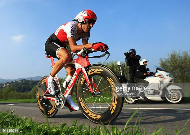 Fabian Cancellara of Switzerland in action on his way to winning the Elite Men's Time Trial at the 2009 UCI Road World Championships on September 24,...