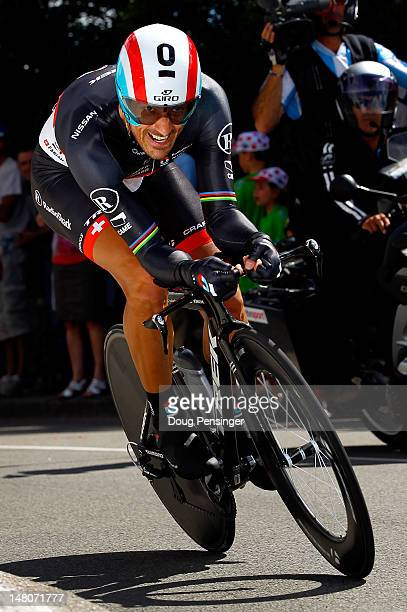 Fabian Cancellara of Switzerland riding for Radioshack-Nissan races to third place in the individual time trial in stage nine of the 2012 Tour de...