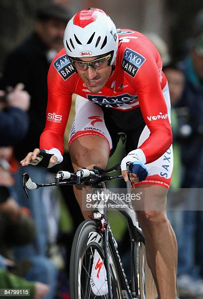Fabian Cancellara of Switzerland, riding for Team Saxo Bank, competes in the Prologue of the AMGEN Tour of California on February 14, 2009 in...