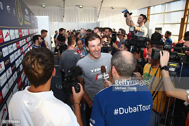Fabian Cancellara of Trek-Segafredo addresses the media ahead of the Tour of Dubai at the Dubai International Marine Club on February 2, 2016 in...