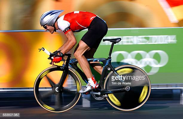 Fabian Cancellara takes part in the Olympic men's cycling time trial in Athens.