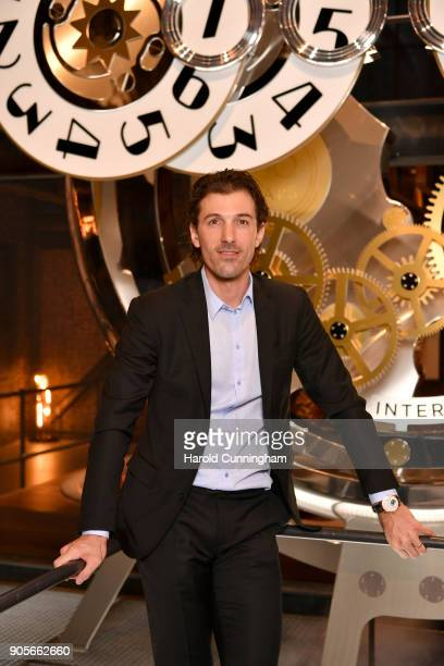 Fabian Cancellara visits the IWC booth during the Maison's launch of its Jubilee Collection at the Salon International de la Haute Horlogerie on...