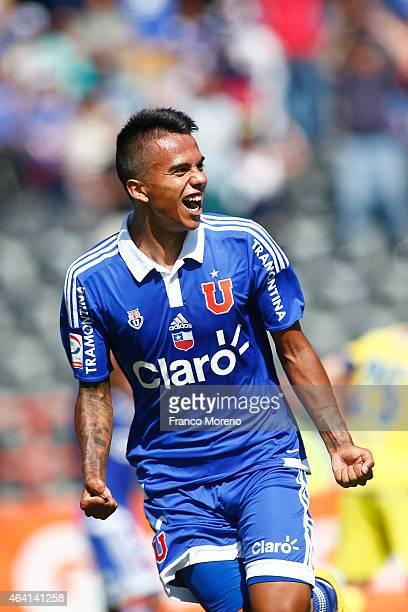 Fabian Carmona of Universidad de Chile celebrates after scoring the first goal of his team against U de Concepcion during a match between U de...
