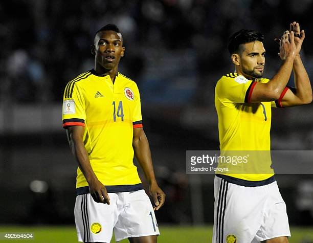 Fabian Castillo and Radamel Falcao of Colombia leave the field after a match between Uruguay and Colombia as part of FIFA 2018 World Cup Qualifier at...