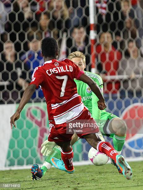 Fabian Castillo of FC Dallas approaches to shoot the ball past goal keeper Tim Melia of Chivas USA during the second half of the match at FC Dallas...