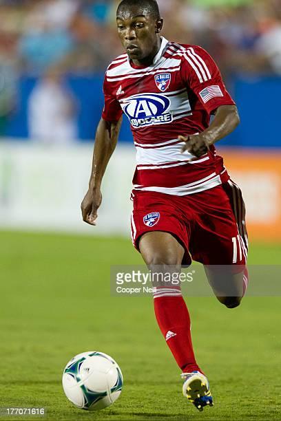 Fabian Castillo of FC Dallas controls the ball against the Los Angeles Galaxy on August 11 2013 at FC Dallas Stadium in Frisco Texas
