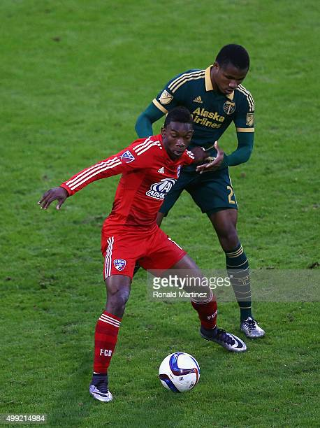Fabian Castillo of FC Dallas dribbles the ball against Alvas Powell of Portland Timbers during the Western Conference FinalsLeg 2 of the MLS playoffs...
