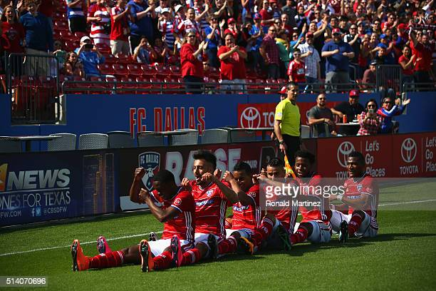 Fabian Castillo of FC Dallas front celebrates his goal with the team against the Philadelphia Union in the first half during the MLS opening game at...