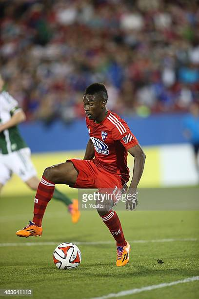 Fabian Castillo of FC Dallas handles the ball during a game against the Portland Timbers at Toyota Stadium on March 29 2014 in Frisco Texas