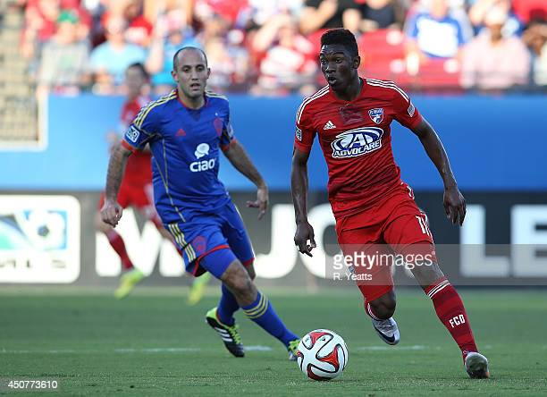 Fabian Castillo of FC Dallas looks for an open teammate against the Colorado Rapids at Toyota Stadium on June 7 2014 in Frisco Texas
