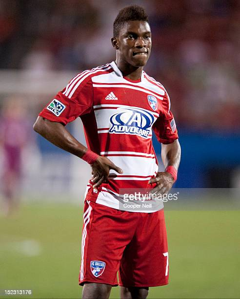 Fabian Castillo of FC Dallas looks on during an injury stoppage against the Vancouver Whitecaps FC on September 15 2012 at FC Dallas Stadium in...