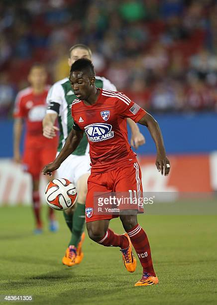 Fabian Castillo of FC Dallas passes the ball during a game against the Portland Timbers at Toyota Stadium on March 29 2014 in Frisco Texas