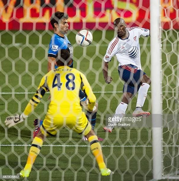 Fabian Castillo of MLS AllStars shoots against Luke McGee of Tottenham Hotspur during the 2015 ATT Major League Soccer AllStar game at Dick's...