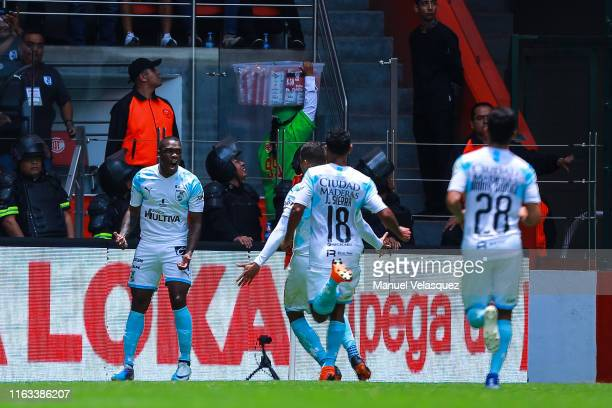 Fabian Castillo of Queretaro celebrates after scoring the first goal of his team during the 1st round match between Toluca and Queretaro as part of...