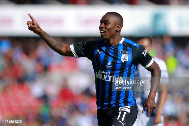 Fabian Castillo of Queretaro celebrates after scoring the first goal of his team during the 8th round match between Queretaro v Puebla as part of the...