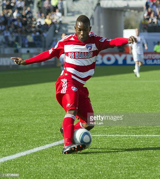 Fabian Castillo of the FC Dallas fires the ball on net during MLS Soccer action against the Vancouver Whitecaps FC on April 23 2011 at Empire Field...
