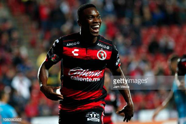 Fabian Castillo of Tijuana celebrates after scoring the first goal of his team during the 12th round match between Tijuana and Queretaro as part of...