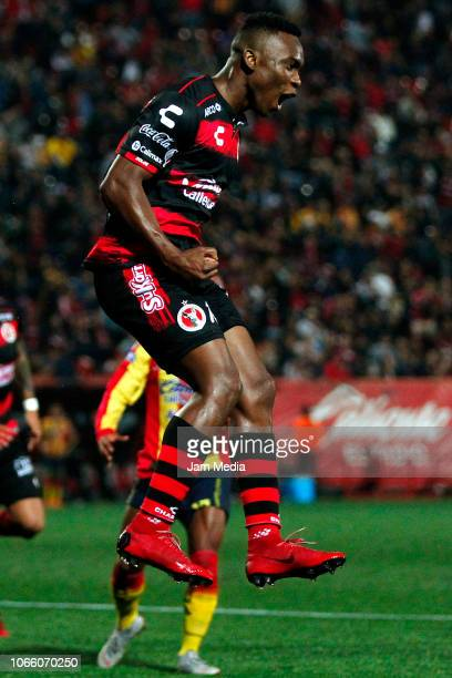Fabian Castillo of Tijuana celebrates after scoring the second goal of his team during a 16th round match between Tijuana and Morelia as part of...