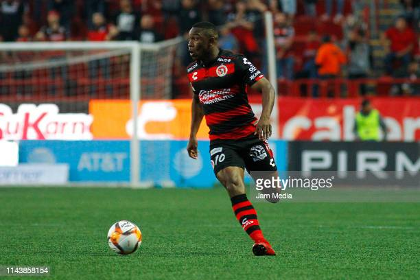 Fabian Castillo of Tijuana controls the ball during the 15th round match between Tijuana and Lobos BUAP as part of the Torneo Clausura 2019 Liga at...