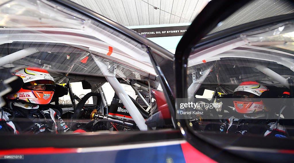 Fabian Coulthard driver of the #12 DJR Team Penske Ford Falcon FGX during practice for the V8 Supercars Sydney SuperSprint at Sydney Motorsport Park on August 27, 2016 in Sydney, Australia.